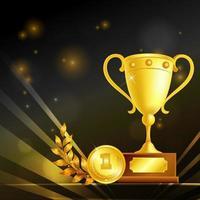 troféus realistas de ilustração vetorial de composição de vencedor vetor