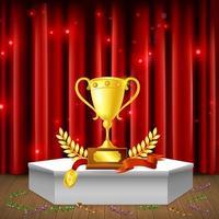 pedestal com ilustração vetorial de composição realista de prêmios vetor