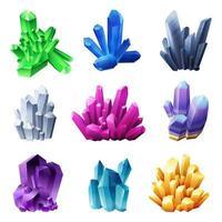 Minerais de cristal realistas em ilustração vetorial de fundo branco vetor
