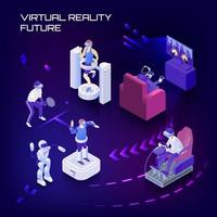 ilustração em vetor fundo isométrico futuro de realidade virtual