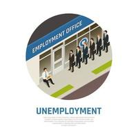 ilustração vetorial de composição isométrica de escritório de empregos vetor