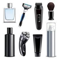 ilustração vetorial conjunto realista de equipamento de barbear vetor