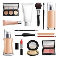 ilustração vetorial conjunto realista de cosméticos de maquiagem vetor