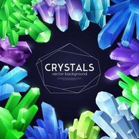 ilustração em vetor fundo realista colorido de cristais