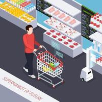 super mercado de ilustração vetorial de composição futura vetor