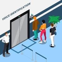 ilustração de vetor de composição isométrica de identificação de acesso