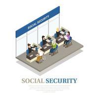 ilustração em vetor composição isométrica de previdência social