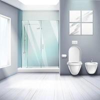 ilustração vetorial de composição realista de interior de banheiro simples vetor