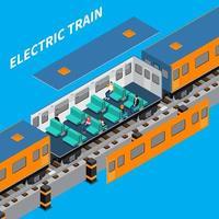 ilustração em vetor composição isométrica de trem elétrico