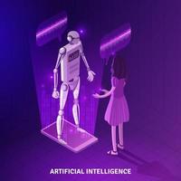 ilustração em vetor composição isométrica inteligência artificial