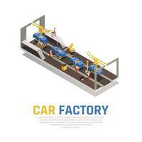 ilustração em vetor composição isométrica de fábrica de carros