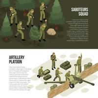ilustração vetorial de coleção de banners horizontais militares vetor