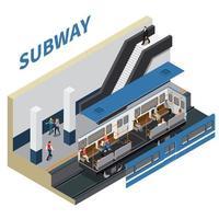 ilustração em vetor composição isométrica metrô