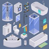 ilustração vetorial de fundo conjunto isométrico de banheiro vetor