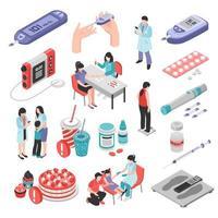 ilustração vetorial conjunto isométrico de tratamento de diabetes vetor