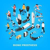 ilustração em vetor composição isométrica de prótese biônica