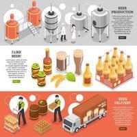 ilustração vetorial de banners isométricos de cervejaria vetor