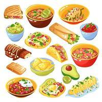 ilustração vetorial conjunto de comida mexicana vetor