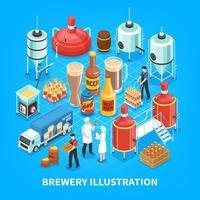 ilustração em vetor composição isométrica cervejaria
