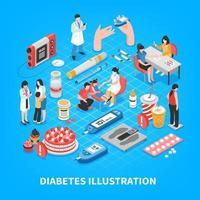 ilustração vetorial de composição isométrica de diabetes vetor
