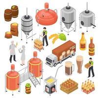 ilustração vetorial conjunto isométrico de cervejaria vetor