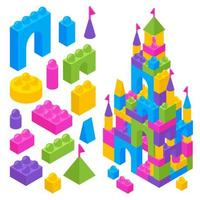 ilustração em vetor blocos isométricos de construtor de brinquedo