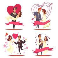 ilustração em vetor conceito design de desenho animado recém-casados