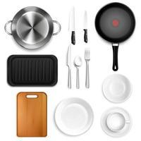 utensílios de cozinha realistas definir ilustração vetorial vetor