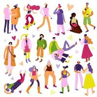 ilustração vetorial conjunto de ícones da moda de rua vetor