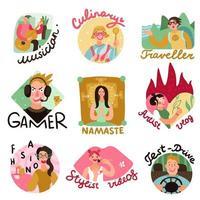 ilustração vetorial conjunto de emblemas de blogueiros de vídeo vetor