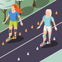 ilustração vetorial de duas mulheres jovens andando em rolos vetor