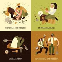 ilustração vetorial conjunto de ícones do conceito de arqueologia vetor