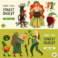 banners de personagens de contos de fadas da floresta definir ilustração vetorial vetor