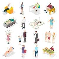 ilustração do vetor ícones isométricos de pessoas ricas e vida rica