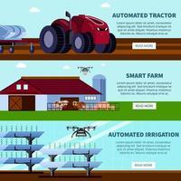 ilustração vetorial de banners planas ortogonais de agricultura inteligente vetor