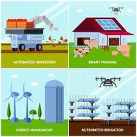 ilustração em vetor conceito design ortogonal agricultura inteligente