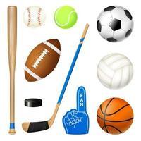 ilustração vetorial conjunto realista de inventário de esporte vetor