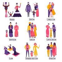 ilustração em vetor conjunto plano de diferentes famílias religiosas