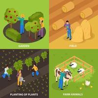 ilustração em vetor conceito de design de vida de agricultores