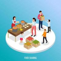 ilustração vetorial isométrica de fundo de compartilhamento de alimentos vetor