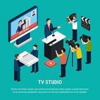 ilustração vetorial de fundo de televisão de estúdio isométrico vetor