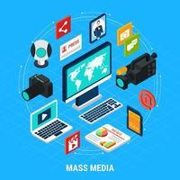 ilustração em vetor composição isométrica de mídia de massa