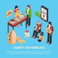 ilustração em vetor cartaz isométrico caridade para sem-teto