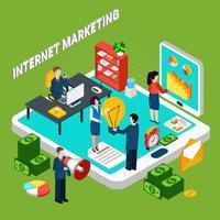 ilustração em vetor conceito isométrico de marketing digital