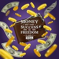 ilustração vetorial de citações de dinheiro e sucesso vetor