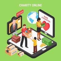 ilustração em vetor composição isométrica on-line de caridade