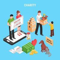 ilustração em vetor composição isométrica de caridade