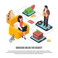 doação online para ilustração vetorial de caridade vetor