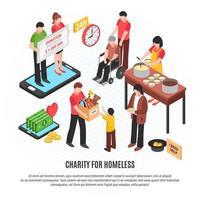 Ilustração em vetor caridade para sem-teto