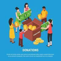 ilustração vetorial de fundo isométrico de doação vetor